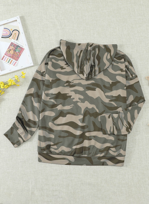 Green Camouflage Floral-Print Long Sleeve Cotton-Blend Hoodie Sweatshirt LC2533082-9