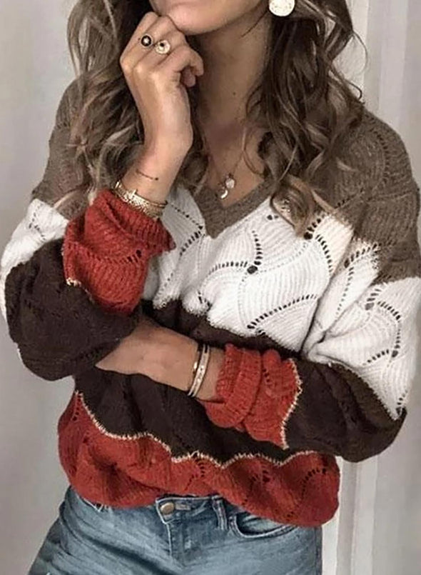 Brown Women's Sweaters Color-block Long Sleeve V Neck Cut-out Sweater LC2721005-17