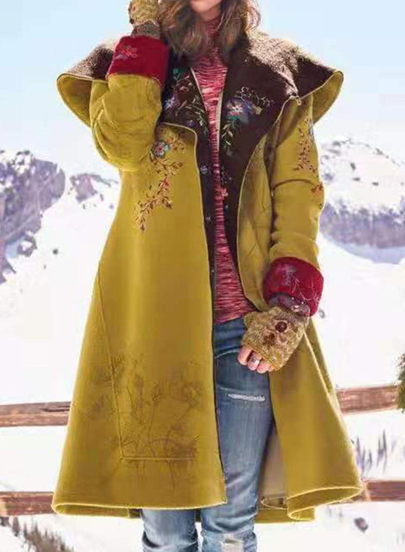 Yellow Women's Coats Mid-length Print Color-block Long-sleeve Woolen Coat LC8511164-7