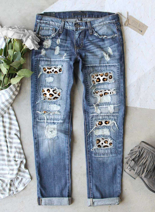 Blue Women's Jeans Leopard Cut-out Straight Mid Waist Full Length Jeans LC78999-5
