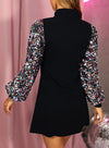 Black Women's Dress Christmas High Neck Lantern Sleeve Bodycon Sequin Dress LC223911-2