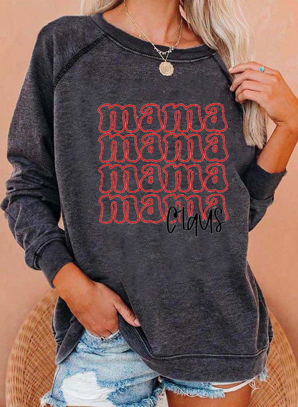Gray Women's Sweatshirts Casual Letter Slogan Print Long Sleeve Round Neck Sweatshirt LC2535707-11