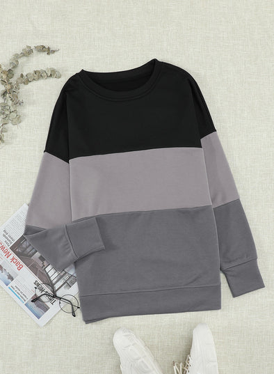 Black Woman's Striped Contrast Stitching Sweatshirt LC2532980-2