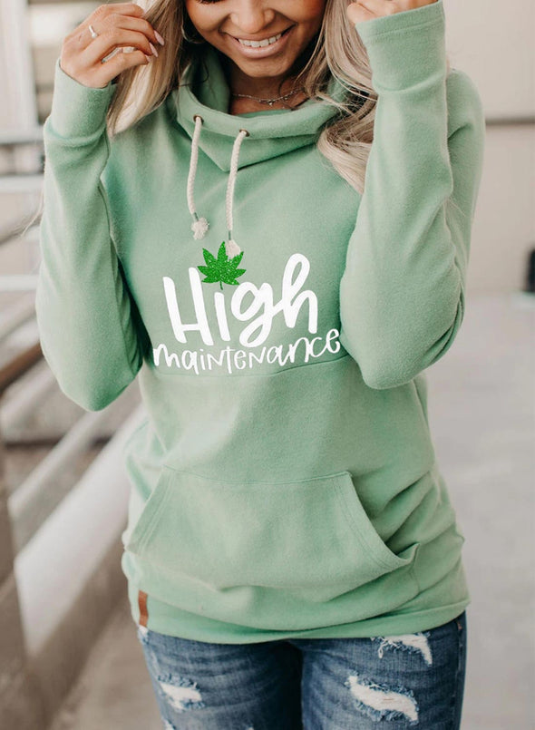 Green Women's Hoodies Drawstring High Neck Long Sleeve Solid Hoodies With Pockets LC2535963-9