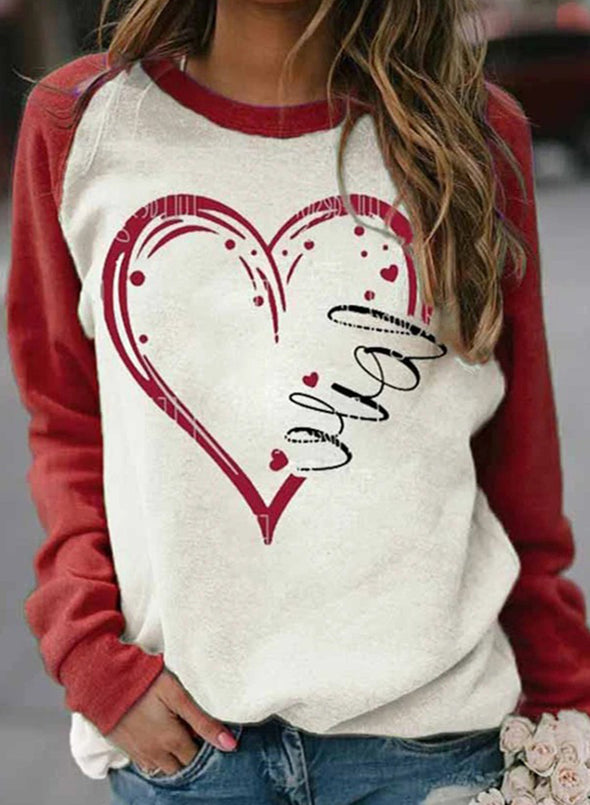 White Women's T-shirts Heart-shaped Print Raglan Sleeve Color Block Long Sleeve Round Neck T-shirt LC2515010-1
