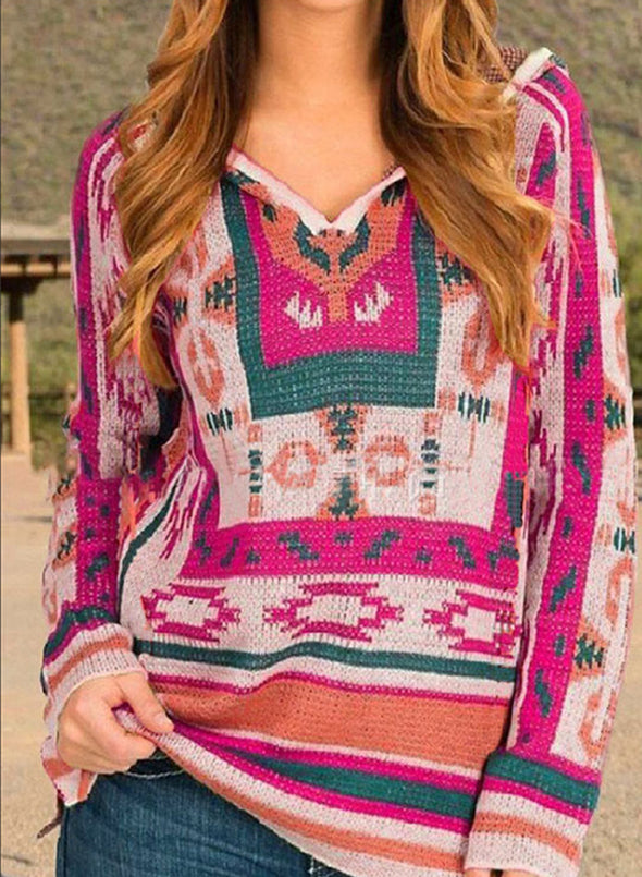 Rose Women's Sweaters V Neck Long Sleeve Tribal Color Block Sweaters LC2721040-6
