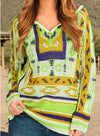 Khaki Women's Sweaters V Neck Long Sleeve Tribal Color Block Sweaters LC2721040-16