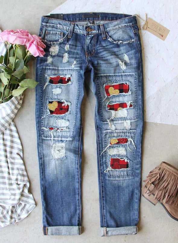 Sky Blue Women's Jeans Plaid Heart-shaped Print Slim High Waist Ankle-length Pocket Ripped Jeans LC781091-4