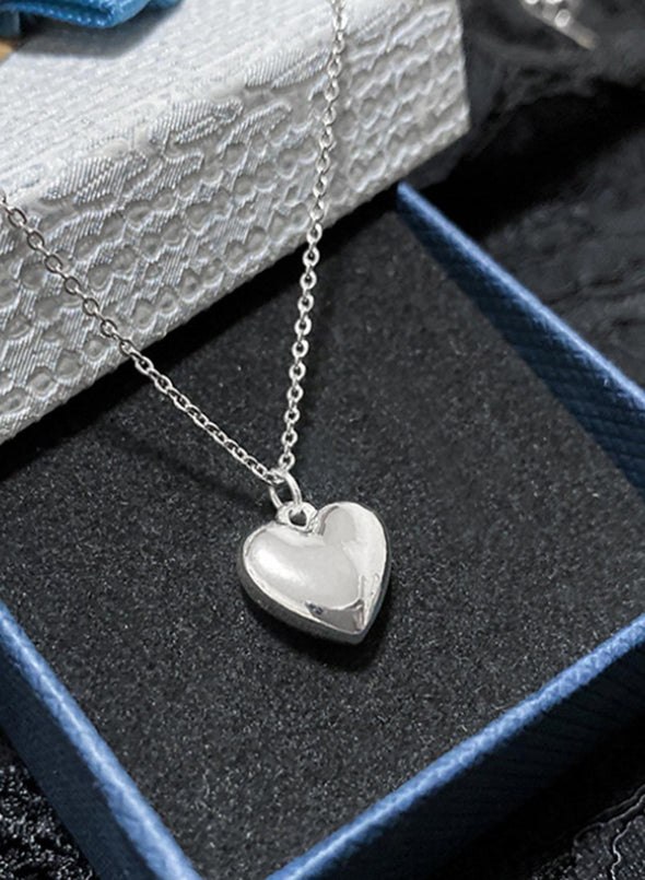 Silver Women's Necklaces Valentine's Day Sweatheart Solid Necklaces LC011053-13