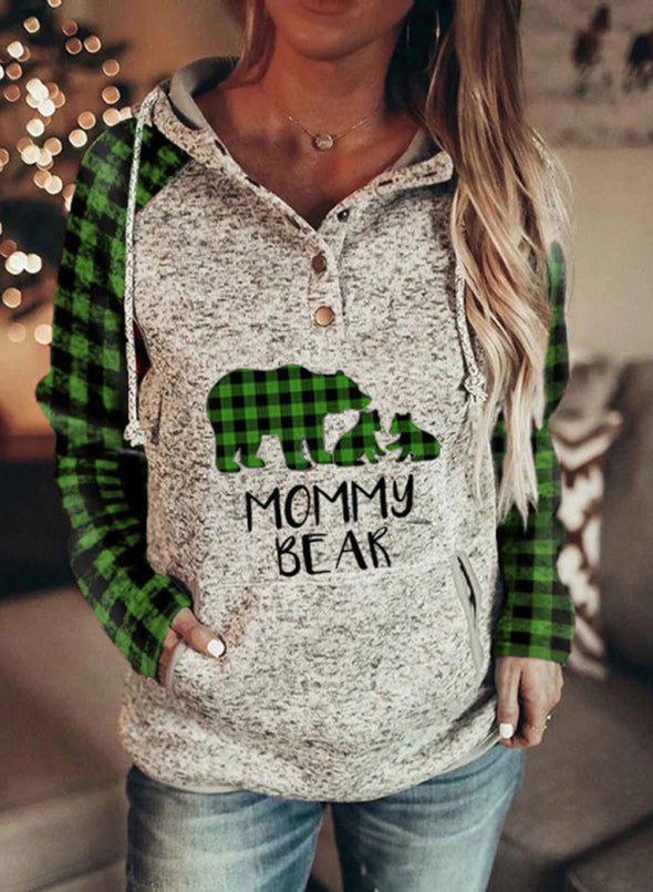 Green Women's Hooded Mommy Bear Plaid Sleeve Pocket Hoodie LC2534394-9