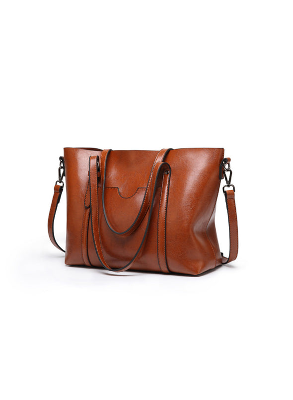 Brown Women's Bags Tote Horizontal Square Type One-shoulder Bag LC003055-17