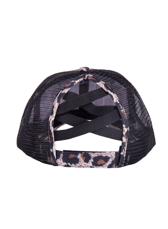 Black Women's Hats Leopard Letter Cotton Baseball Cap LC02323-2