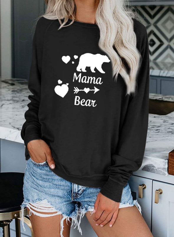 Black Women's Sweatshirts Round Neck Long Sleeve Animal Print Solid Daily Sweatshirts LC2515245-2