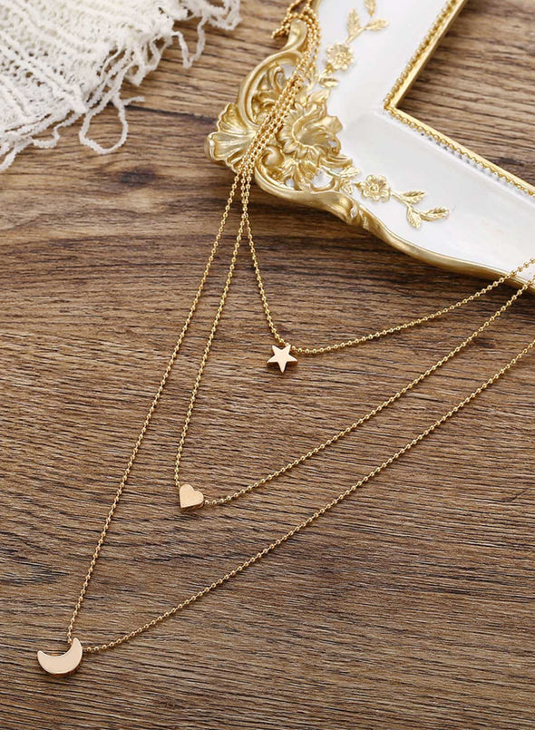 Gold Women's Necklaces Multilayer Retro Simple Star Moon Love Pendant Necklace LC011090-12