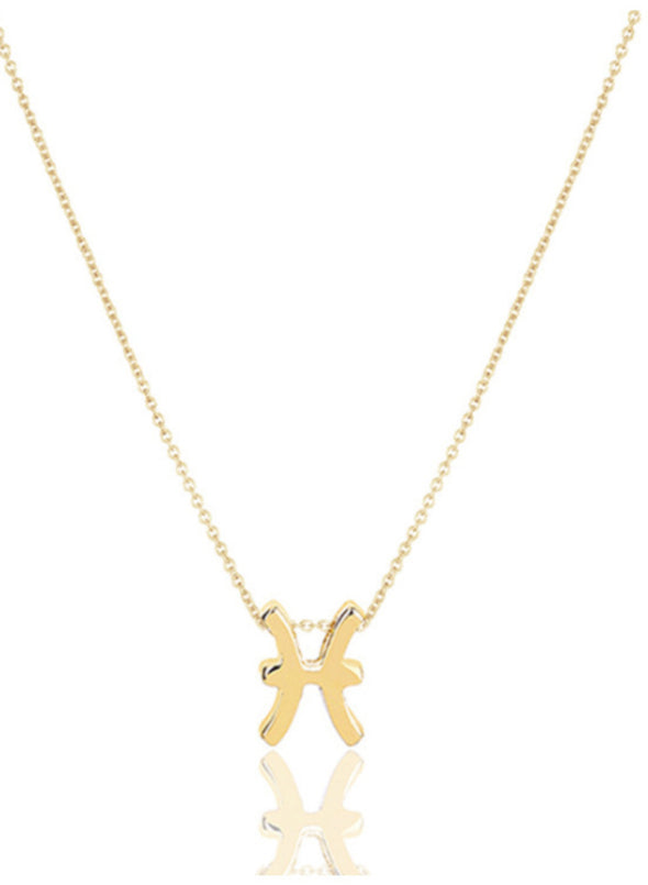 Gold Women's Necklaces Solid Alloy 12 Zodiac Necklace LC011095-12