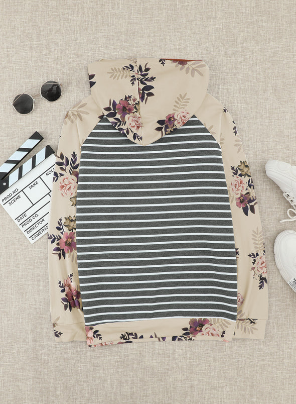 Gray Long Sleeve Floral Striped Hoodie LC2532787-11