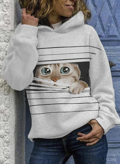 White Women's Hoodies Cat Animal Print Striped Long Sleeve Casual Hoodie LC2536377-1