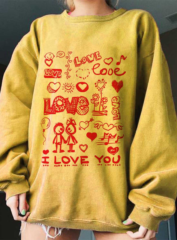 Yellow Women's Sweatshirts Solid Letter Long Sleeve Round Neck Daily Loose Sweatshirt LC2536378-7