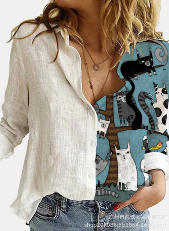 Blue Women's Shirts Cat Print Color-block Long Sleeve Turn Down Collar Casual Shirt LC255697-5