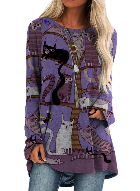 Purple Women's Pullovers Cat Long Sleeve Round Neck Casual Tunic Pullover LC2522716-8