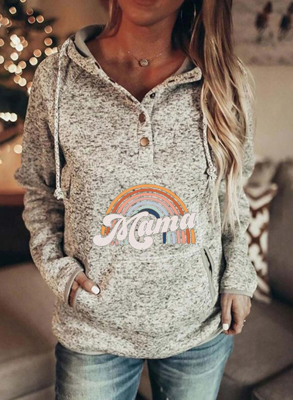 Gray Women's Hoodies Rainbow Letter Long Sleeve Casual Zip Button Pocket Drawstring Hoodie LC2536473-11