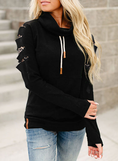 Black Leopard Detail High Neck Black Sweatshirt LC2533382-2