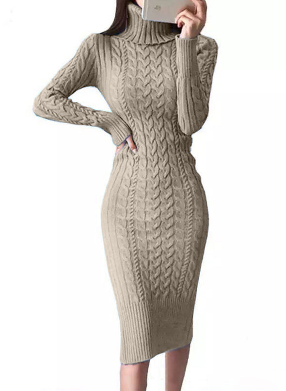Khaki Women's Dress High Neck Long Sleeve Bodycon Solid Knitted Twisted Casual Dress LC273115-16