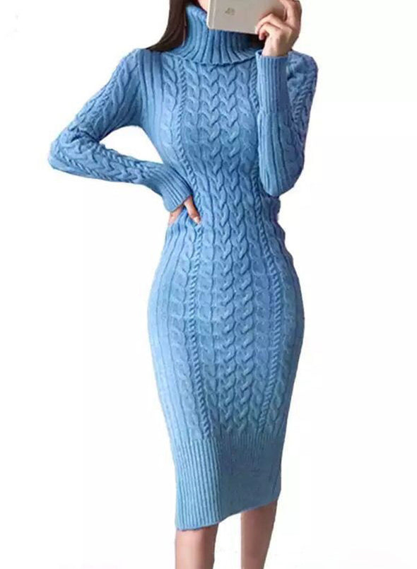 Blue Women's Dress High Neck Long Sleeve Bodycon Solid Knitted Twisted Casual Dress LC273115-5