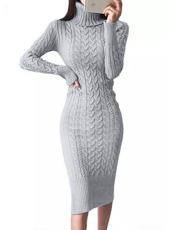 Gray Women's Dress High Neck Long Sleeve Bodycon Solid Knitted Twisted Casual Dress LC273115-11