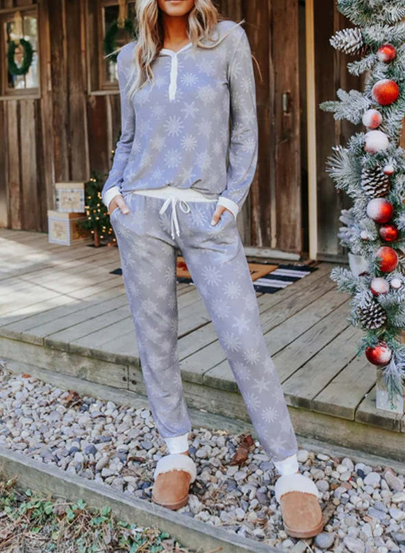 Gray Women's Loungewear Sets Solid Floral Long Sleeve Round Neck Casual Two-piece Sets LC4511068-11