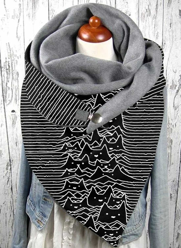 Black Women's Scarf Cat Print Striped Cotton Casual Warm Scarf LC04248-2