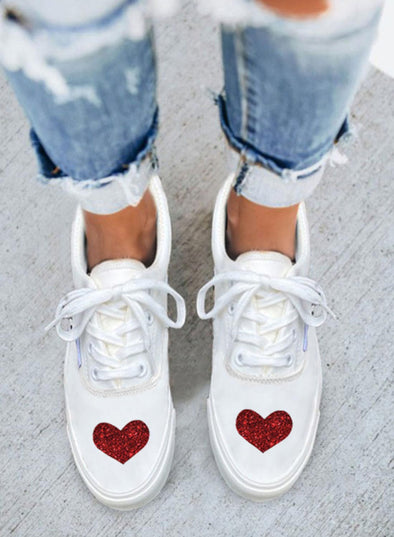White Women's Sneakers PU Leather Solid Love-shaped Casual Sneakers LC12862-1