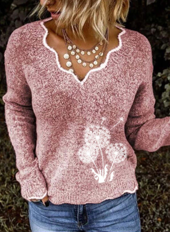 Pink Women's Sweaters Dandelion Embroidery Long Sleeve Sweetheart Casual Sweater LC2721053-10