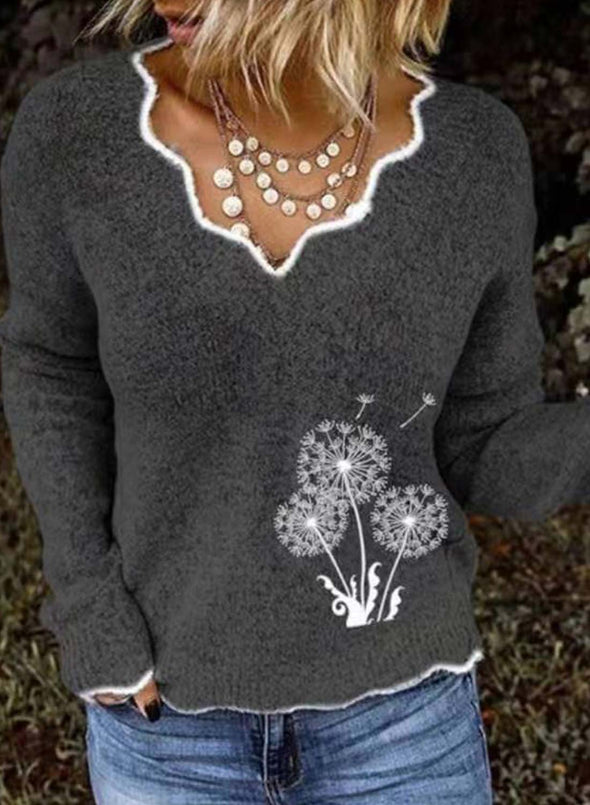 Gray Women's Sweaters Dandelion Embroidery Long Sleeve Sweetheart Casual Sweater LC2721053-11
