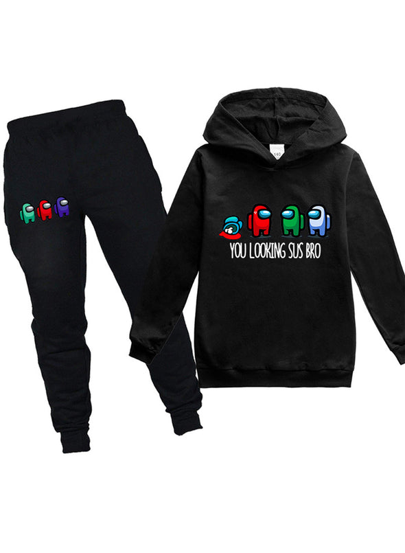 Black Children's Sets Letter Cartoon Cute Long Sleeve Hooded Daily Full Length Casual Pocket 2-Piece Set TZ25156-2