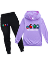 Purple Children's Sets Letter Cartoon Cute Long Sleeve Hooded Daily Full Length Casual Pocket 2-Piece Set TZ25156-8