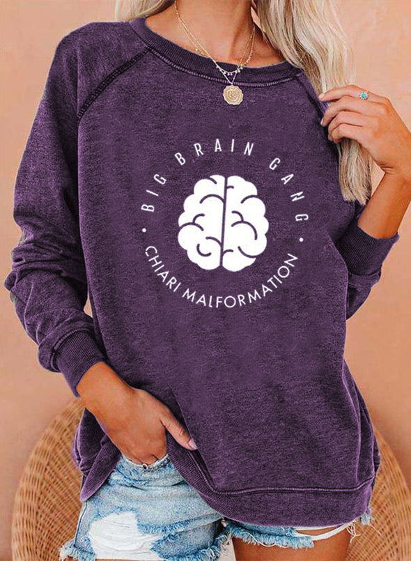Purple Women's Sweatshirts Round Neck Long Sleeve Color Block Letter Casual Daily Sweatshirts LC2536609-8