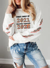 White Women's Sweatshirts Round Neck Long Sleeve Leopard Letter Casual Daily Sweatshirts LC2536618-1