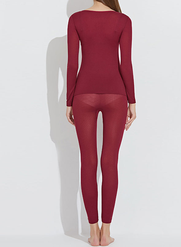 Red Women's Sets Thermal Underwear Warm Solid Long Sleeve Round Neck V Basic 2-piece Set LC621429-3
