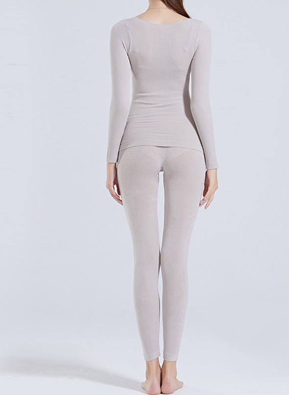 Gray Women's Sets Thermal Underwear Warm Solid Long Sleeve Round Neck V Basic 2-piece Set LC621429-11
