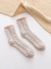 Khaki Women's Socks Coral Velvet Fleece Warm Color Block Socks LC09365-16