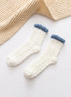 White Women's Socks Coral Velvet Fleece Warm Color Block Socks LC09365-1