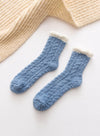 Blue Women's Socks Coral Velvet Fleece Warm Color Block Socks LC09365-5
