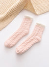 Pink Women's Socks Coral Velvet Fleece Warm Color Block Socks LC09365-10