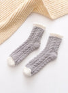 Gray Women's Socks Coral Velvet Fleece Warm Color Block Socks LC09365-11