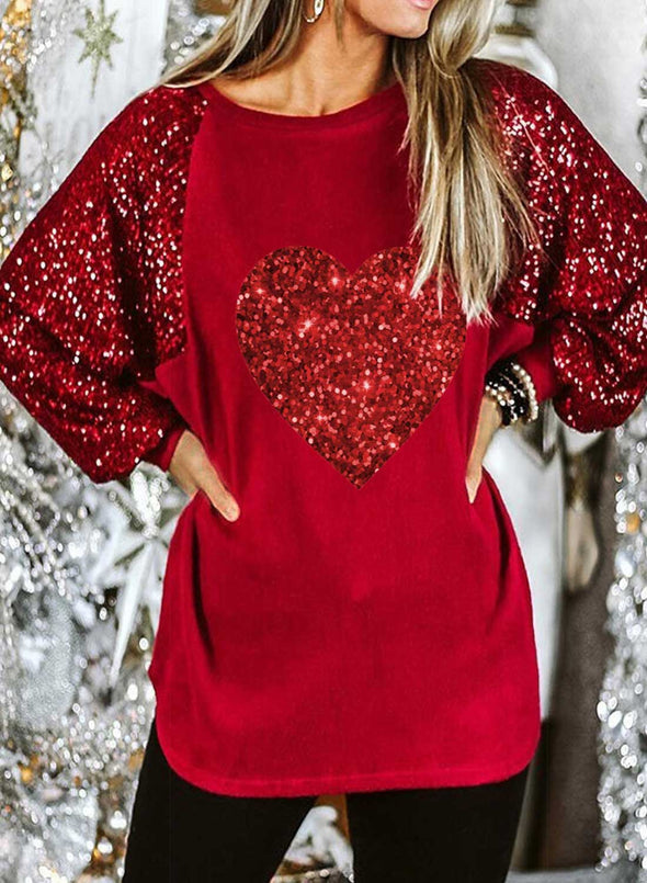 Red Women's Blouses Color Block Long Sleeve Round Neck Daily Casual Sequin Blouse LC2515580-3