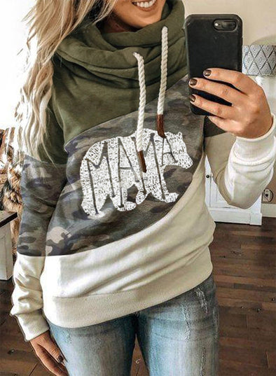 Green Camouflage Color Block Hoodie LC2533642-9