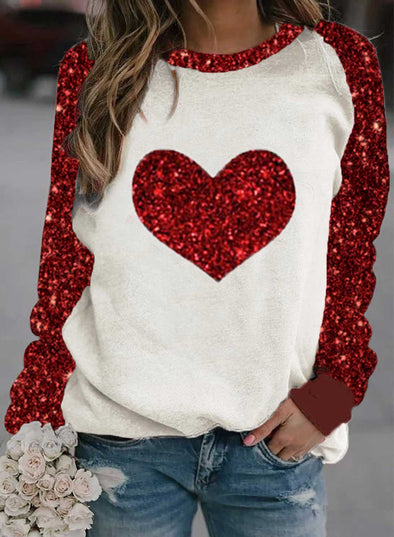 Red Women's Sweatshirts Round Neck Long Sleeve Color Block Sequin Heart-shaped Sweatshirts LC2515584-3