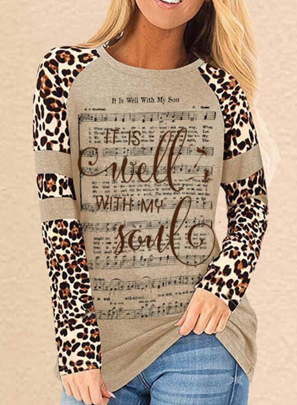 Khaki Women's Sweatshirts Round Neck Long Sleeve Letter Music Score Leopard Casual Sweatshirts LC2515628-16