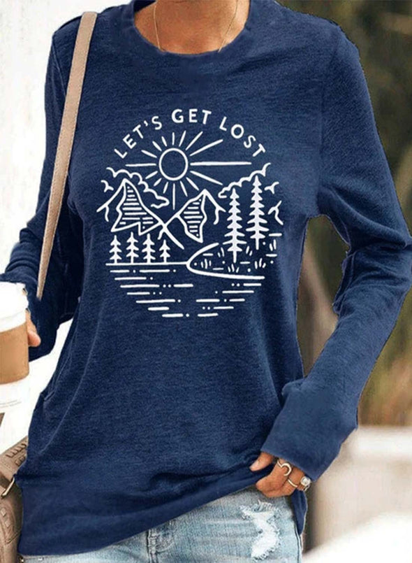 Blue Women's T-shirts Letter Print Crew Neck Long Sleeve Casual T-shirt LC2515705-5